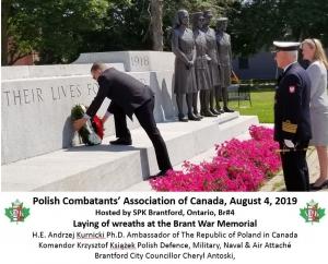 Ambassador Laying Wreath at Brant Cenotaph