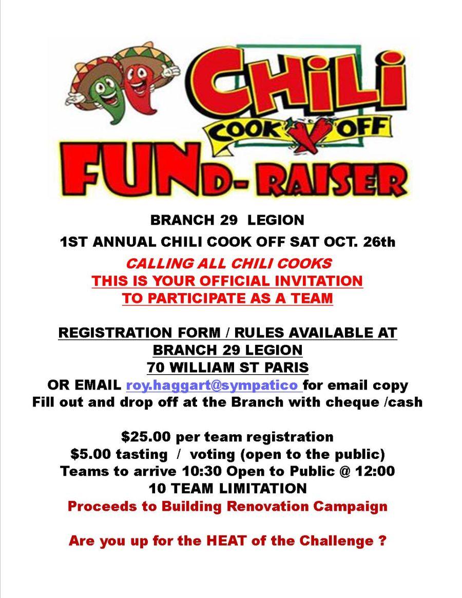 Chili Cook Off FUND-raiser poster