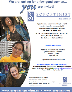 Soroptimist Grand Erie Social Information Session poster