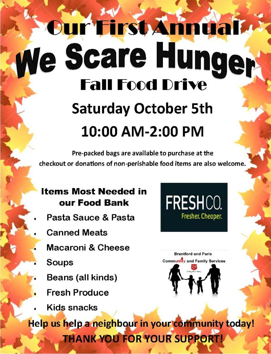 We Scare Hunger Fall Food Drive poster