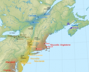 European Settlements In North America 1664