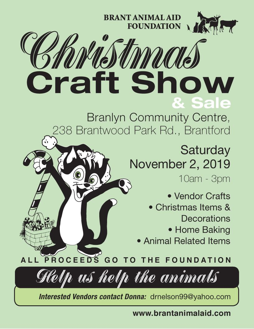 Brant Animal Aid Foundation Christmas Craft Show & Sale poster