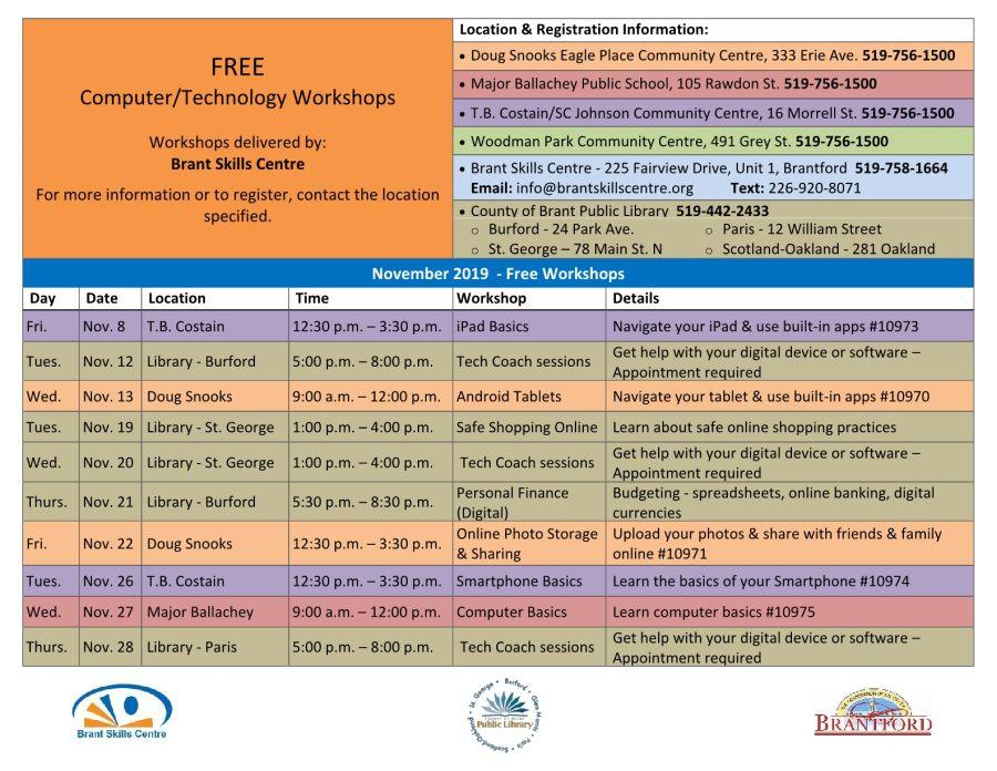 November Computer & Technology Workshops schedule