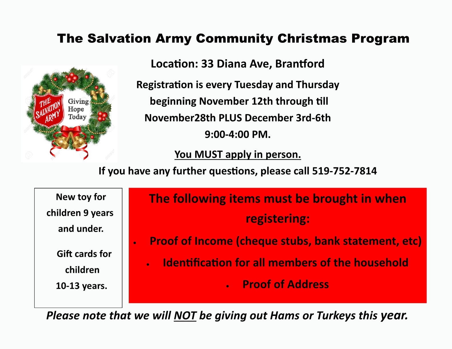 Salvation Army Community Christmas Program poster