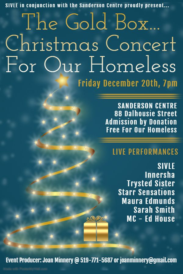 The Gold Box Christmas Concert for our homeless poster