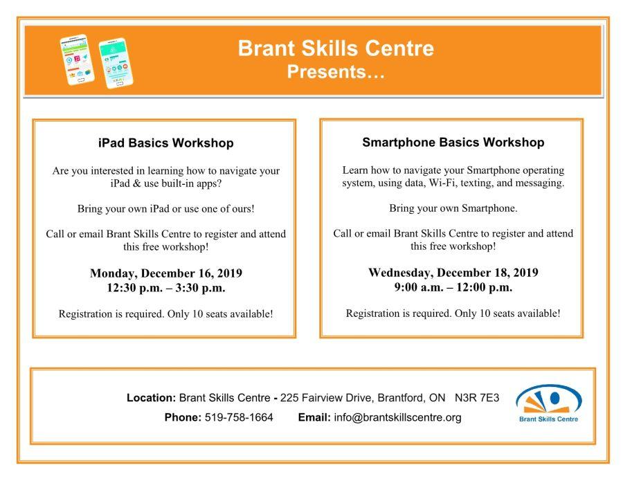 iPad Basics and Smartphone Basics workshops poster