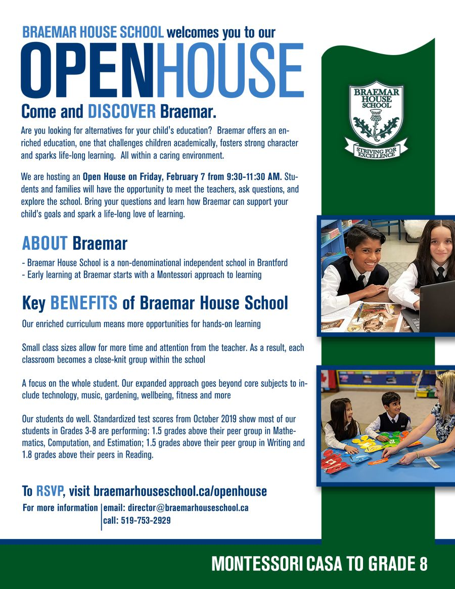 Open House - Braemar House School poster