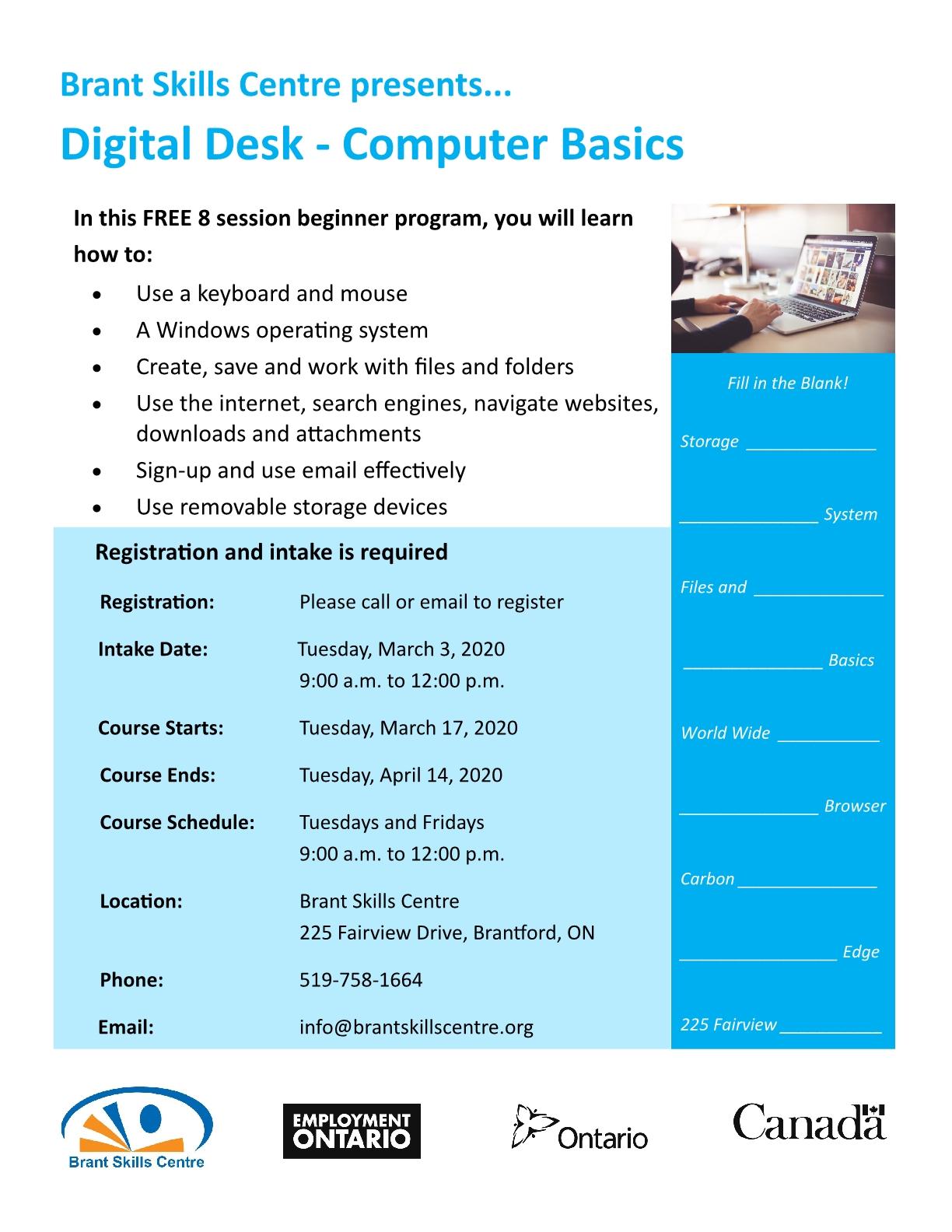 Digital Desk - Computeer Basics poster