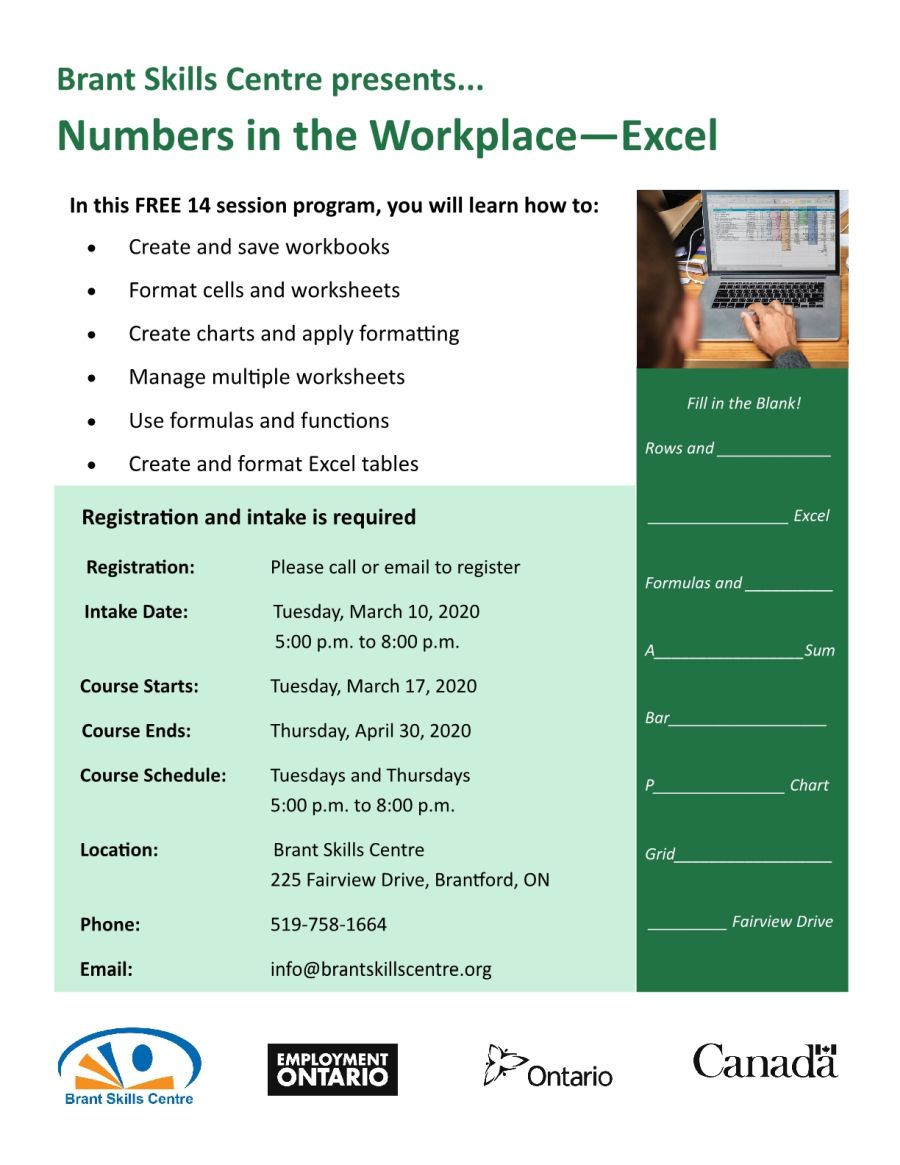 Numbers in the Workplace - Excel poster