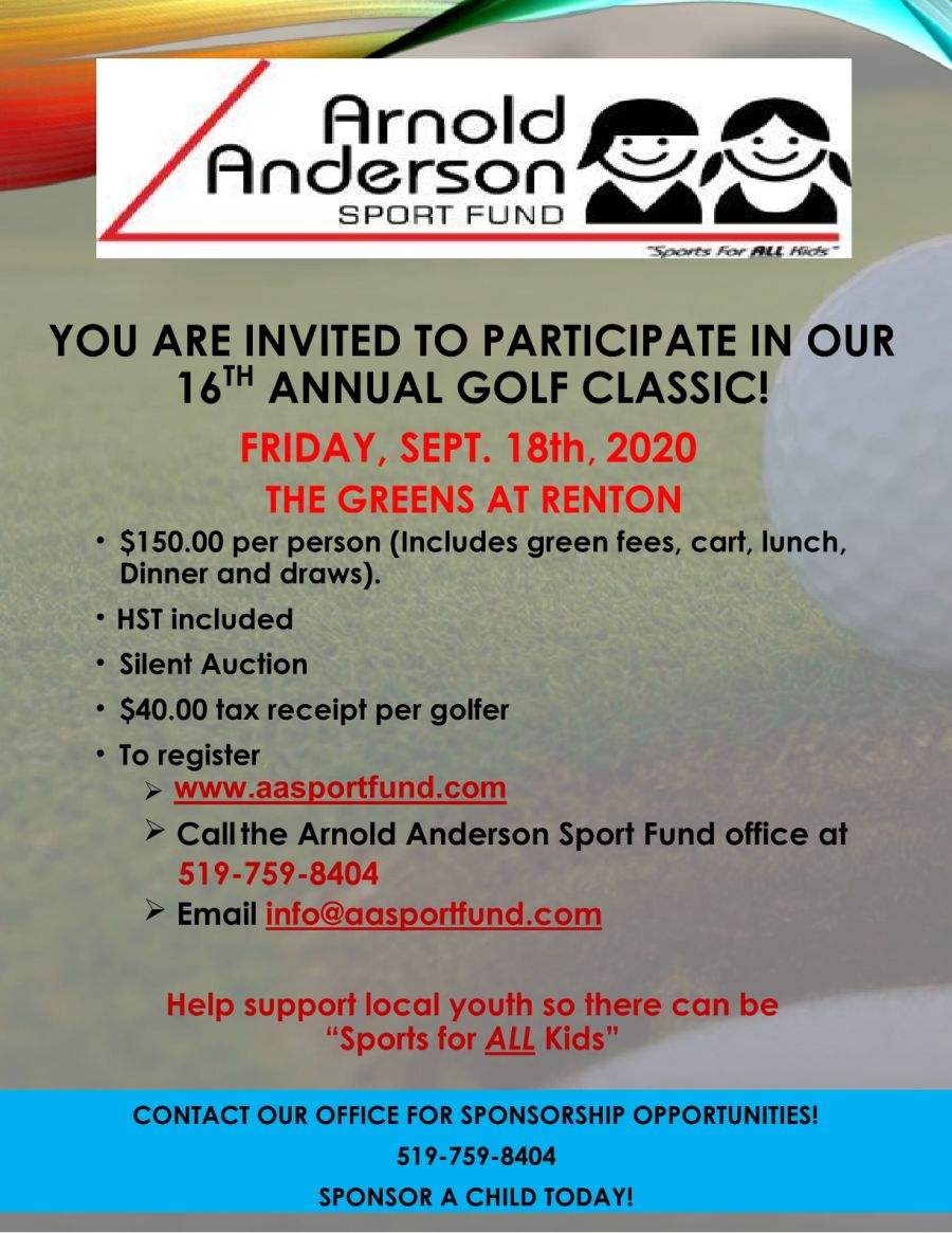 16th Annual Anrold Anderson Golf Classic poster