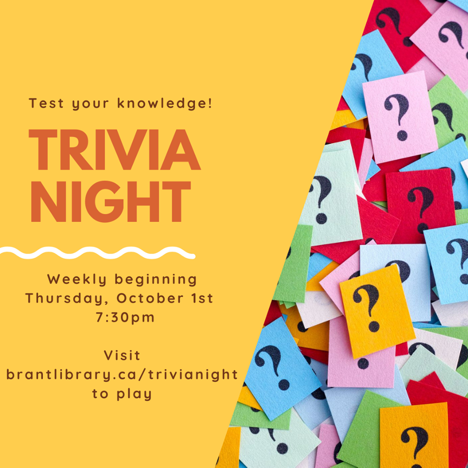 Thursday Night Trivia - County of Brant Library - October 2020