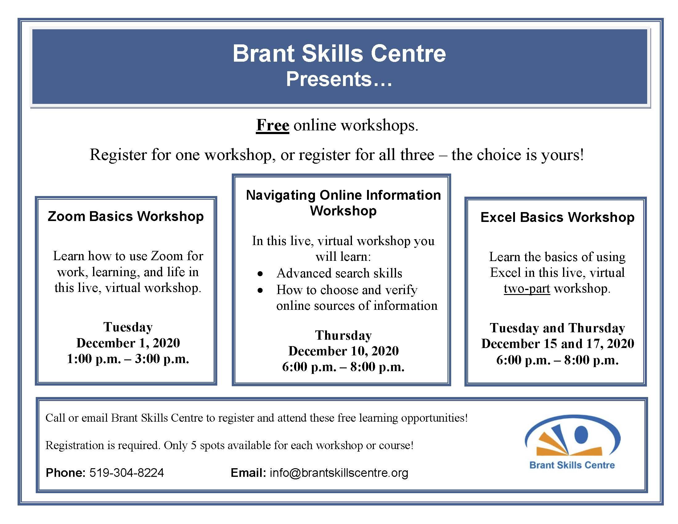 Brant Skills Centre December Workshops