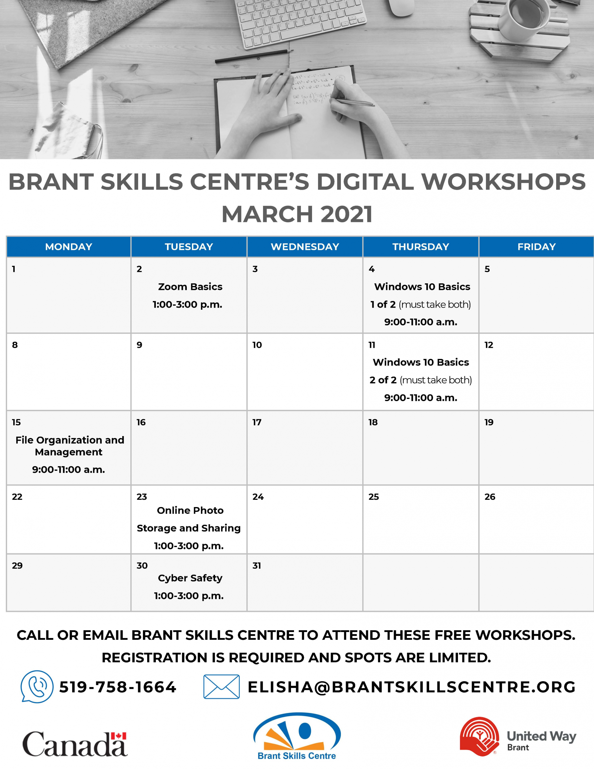 Brant Skills Centre's Digital Workshops - March 2021